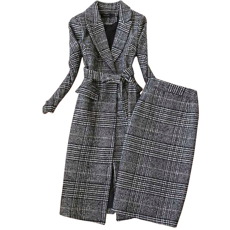 Plaid Suit Women Autumn Winter New Long Woolen Blazer & Skirt Set Temperament Tweed Trench Two Piece Set Plus Size Outfit F1834