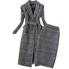 Plaid Suit Women Autumn Winter New Long Woolen Blazer & Skirt Set Temperament Tweed