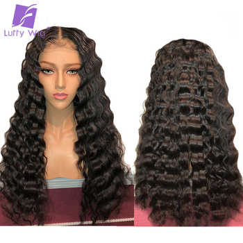 ディープウェーブレースフロント人間の髪かつら 13*6 レースフロントかつら Preplucked ベビーヘアー漂白ノットブラジルの Remy 女性のためのルフィ