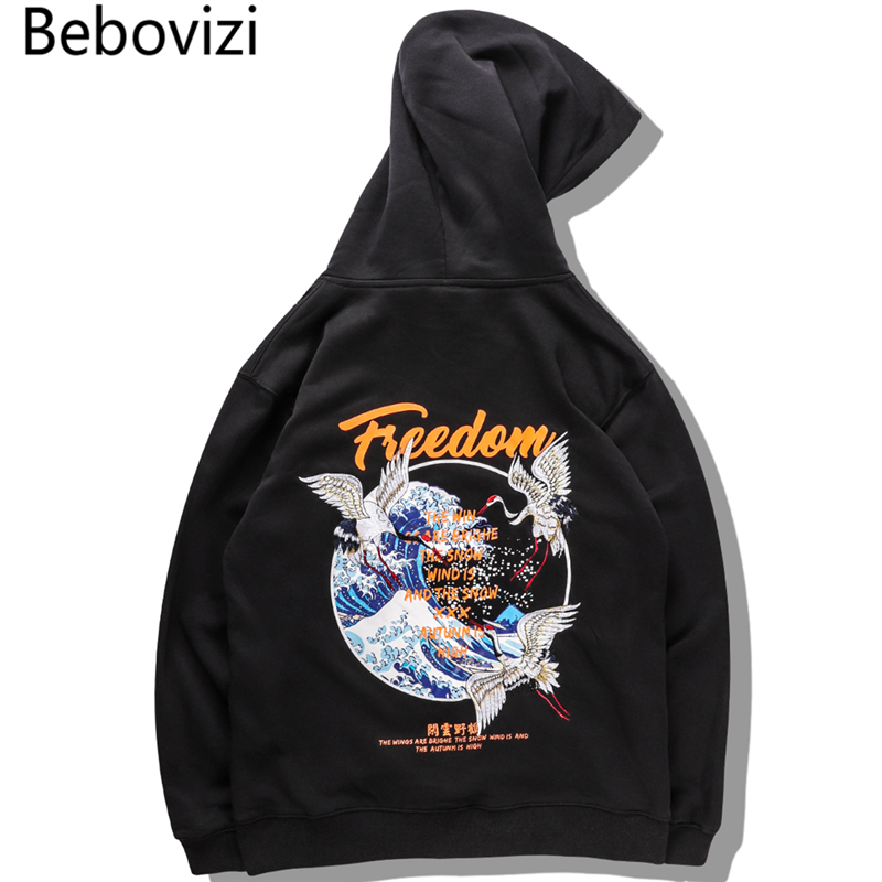 Bebovizi Japan Hoodie Embroidered Crane Bird Japanese Kanagawa Wave Print Hoodies Sweatshirts Harajuku Hip Hop Streetwear