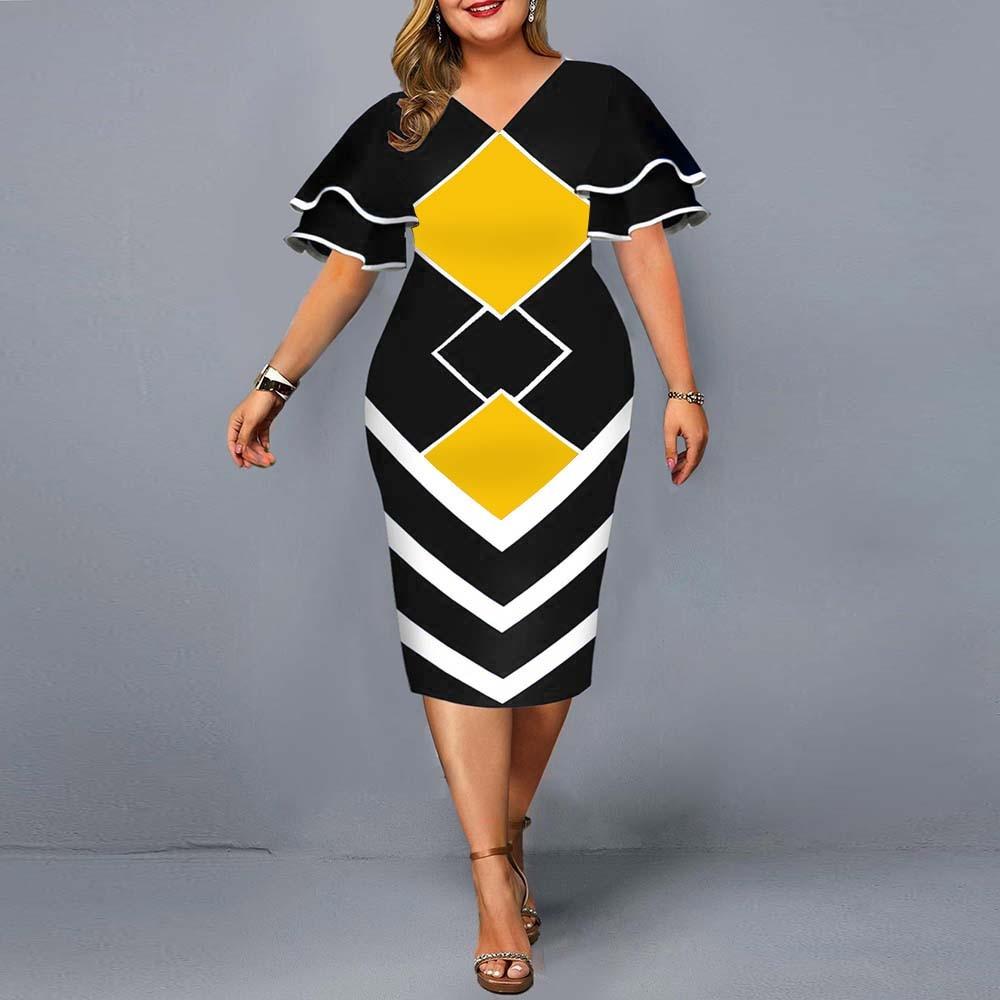 Plus Size Dress Elegant Geometric Print Evening Party Dress 2021 Autumn Women