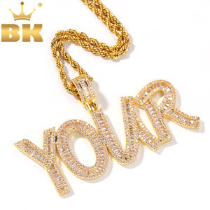 Pendant Necklace Jewelry Tennis-Chain Cubic-Zircon Initial Letters Bling-King-Iced Baguette