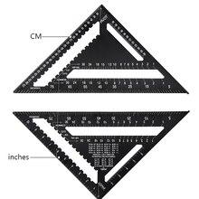 Ferramenta de medição régua quadrada liga de alumínio velocidade transferidor mitra para carpinteiro tri-quadrado linha scriber viu guia
