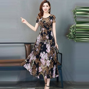 Summer Woman Dress Vintage Bohemian Floral Print Short Sleeve Long Dress Elegant A Line Round Neck Work Dress Woman Vestidos