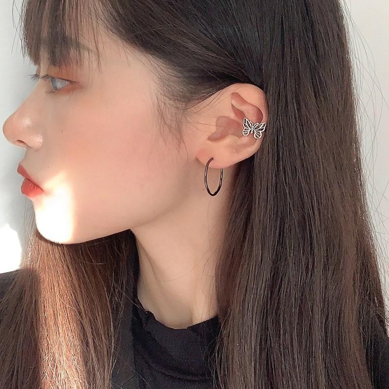 Retro Hong Kong style butterfly ear clips without pierced ears female painless ear bone clips ear studs fairy Qi Sen super fairy