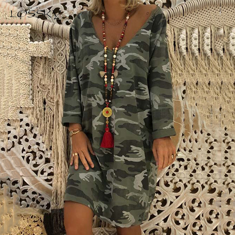 Lossky Dress Camouflage Printed Long Sleeve Women Clothing Loose Jumper Dress 2019 New Autumn Sexy V Neck Casual Ladies Dresses