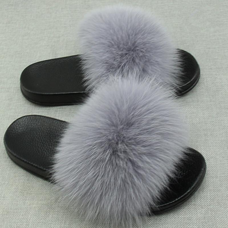 Summer Women Fox Fur Slippers Really Fox Hair Flip Flops Fluffy Plush Non Slip Indoor Slipper High Quality Beach Sandals