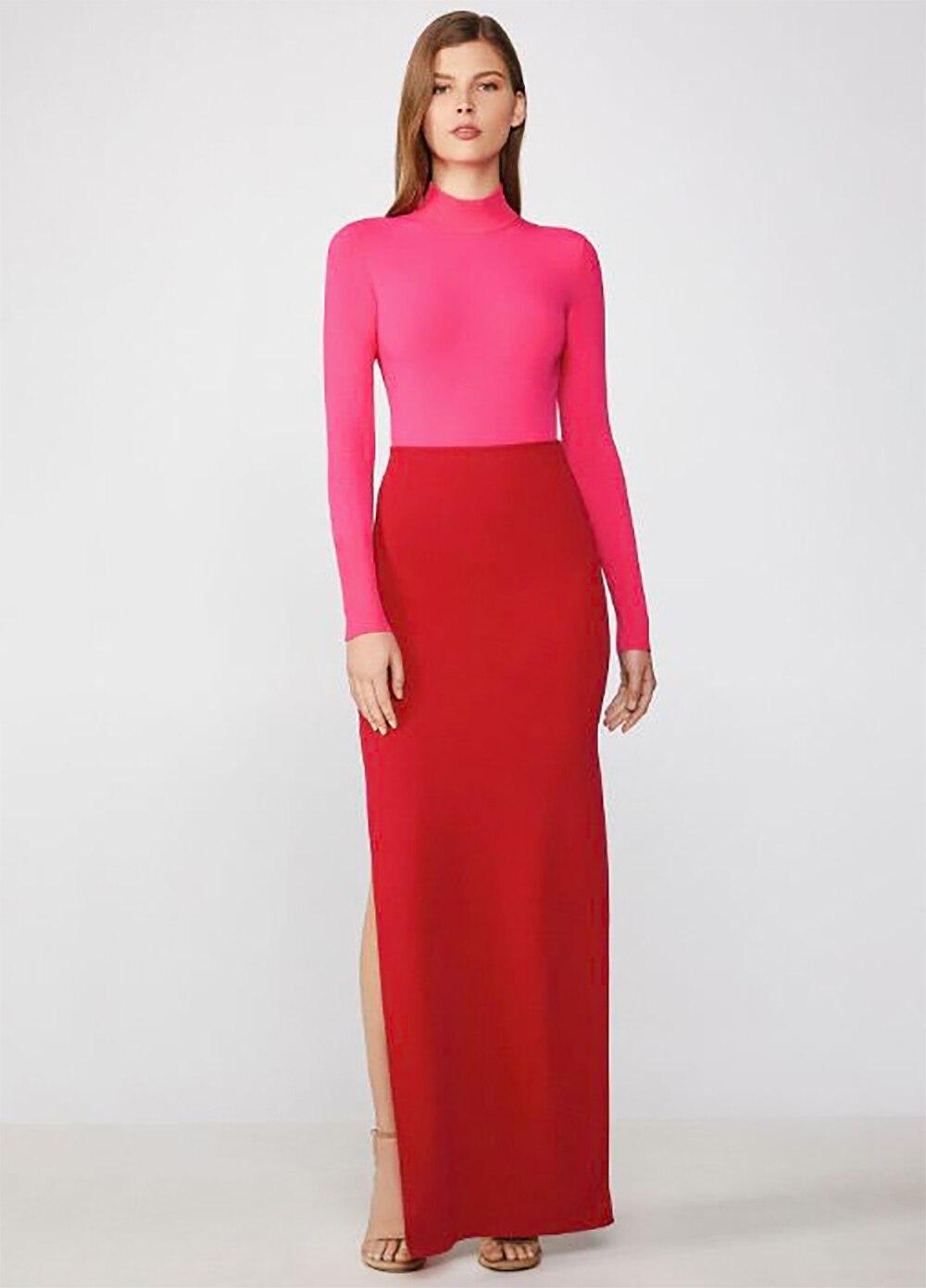 Lyer 2019 nouveau haut rose frappe la robe rouge sexy serré maison décontracté pansement robe de soirée