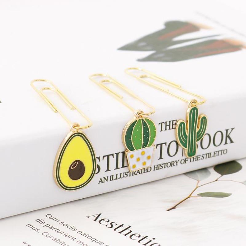 5 Pcs/pack Kawaii Mini Cactus Avocado Pendant Metal Paper Clips Bookmarks Photo Memo Binder Clip For Girls Gift Stationery