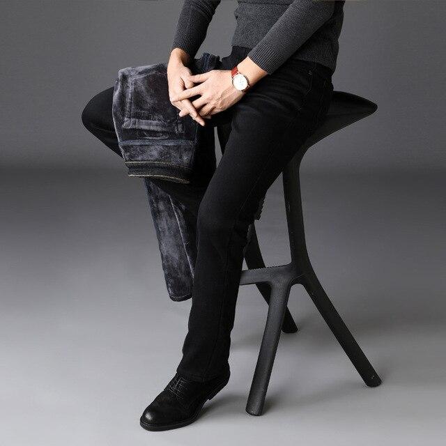 2019 Men Fashion Winter Jeans Men Black Slim Fit Stretch Thick Velvet Pants Warm Jeans Casual Fleece Trousers Male Plus Size 4