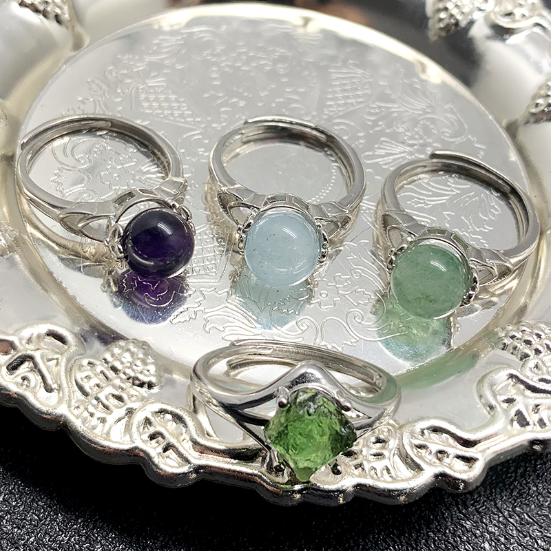 Вращающийся естественные каменные кольца для женщин Пара Кольца с настоящими Австрийскими кристаллами Регулируемый Павлиньего хвоста, ру...