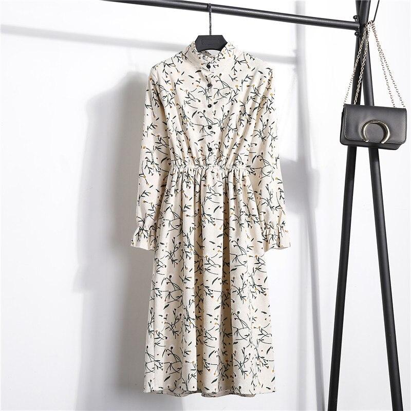 Женское вельветовое платье миди QRWR, винтажное ТРАПЕЦИЕВИДНОЕ ПЛАТЬЕ С высокой эластичной талией, длинным рукавом и цветочным принтом в клетку|Платья|   | АлиЭкспресс
