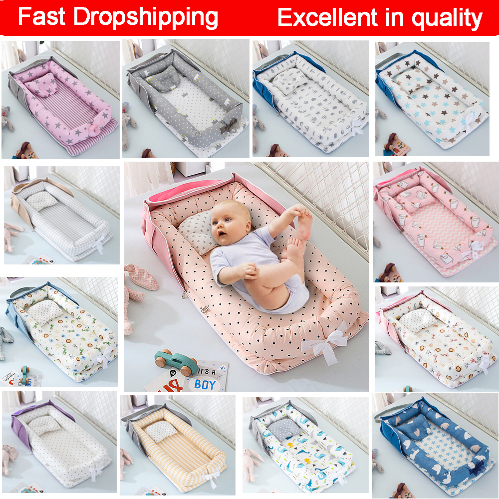 Baby Cot Portable Newborn Nest Bed for Boys Girls Crib Travel Bed Infant Cotton Cradle Crib Baby Bassinet Newborn Cradle Bed