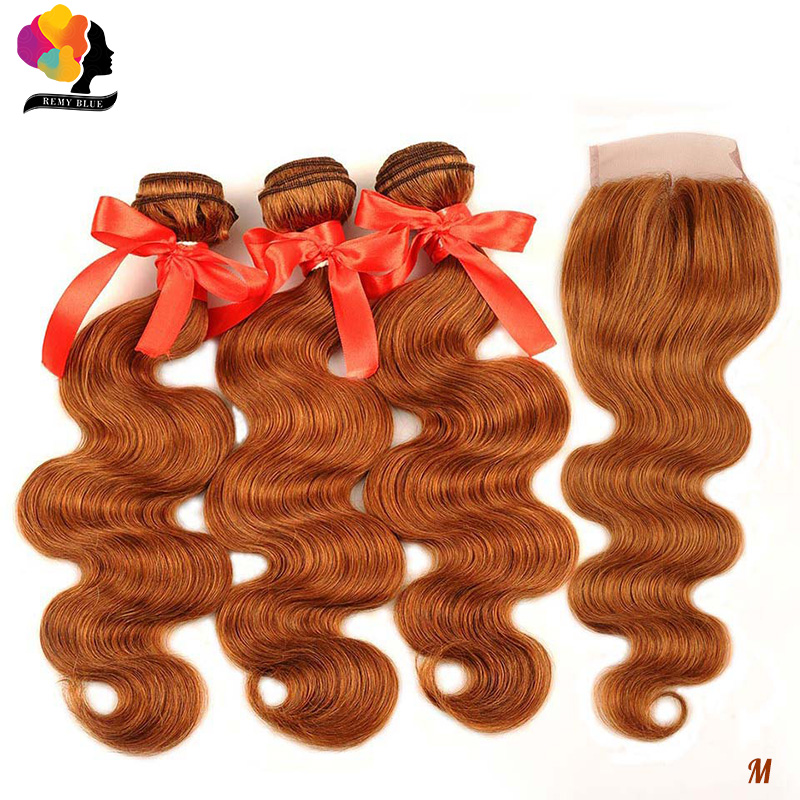 Ginger Orange Body Wave Remy Bundles With Closure 100% Peruvian Human Hair 3 Bundles With Closure Remyblue Blonde Hair Extension