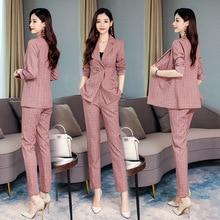 Women's suit 2019 new autumn temperament lattice slim slimming casual wild fashion suit jacket two-piece women's clothing