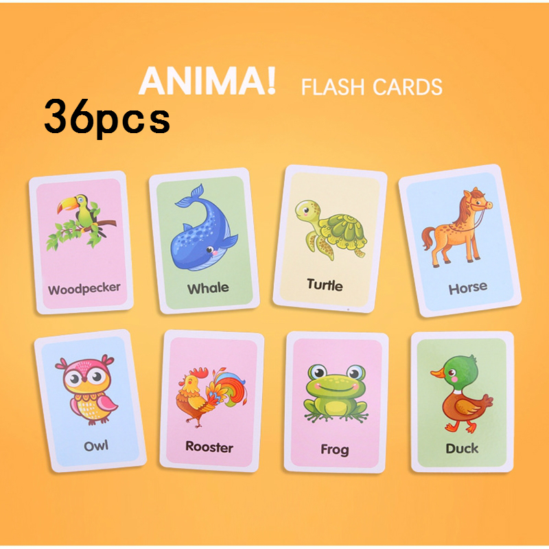 36pcs/set Kids Cognitive Cards Montessori Materials Animal Fruit Shape Words Learning Books Cards Education Toys For Children