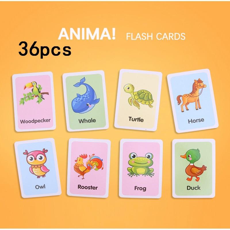 36pcs/set Kids Cognitive Cards Montessori Materials Animal Fruit Shape Words Learning Books Cards Education Toys For Children
