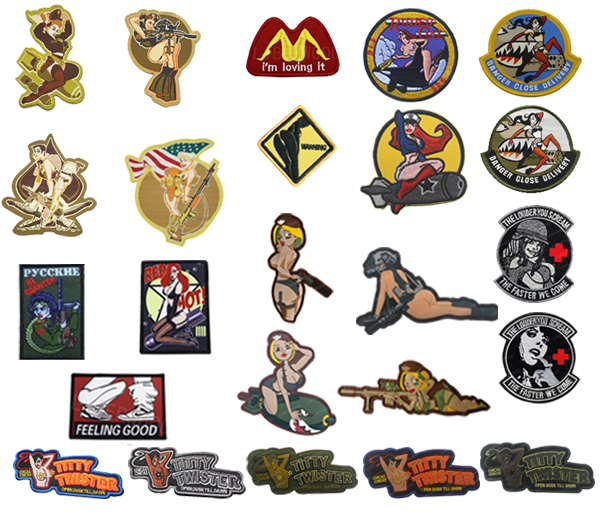 Airsoft morale patch pin up v2 3d PVC  WWII hook and loop bomber