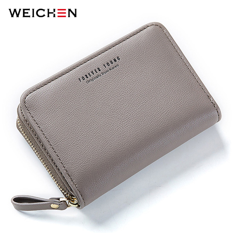 WEICHEN New Women Wallet Many Departments Card Holder Foldable Ladies Small Purse Zipper Card Case High Quality Female Wallets|Wallets| - AliExpress