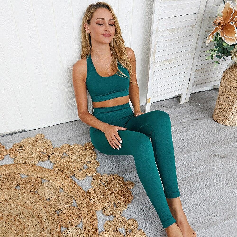 2020 2PCS Women's Seamless Yoga Set Sportswear Sports Bra+Leggings Fitness Pants Gym Running Suit Exercise Clothing Athletic