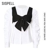 Женская блузка sispell Лоскутная Блузка с бантом пышная рубашка