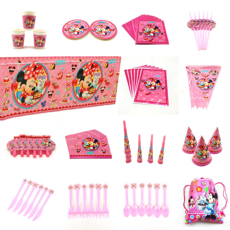 Disney Cartoon Minnie Mouse Theme Party Birthday Party Decorations kids Disposable Tableware Birthday Party Decorations Supplies