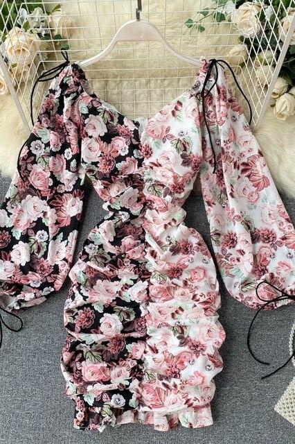 Spring Summer Long Sleeves Women Floral Dress Fold Mini Sexy  Vestidos Elegantes Slim Dress V Neck Lantern Sleeve Short Dress 6