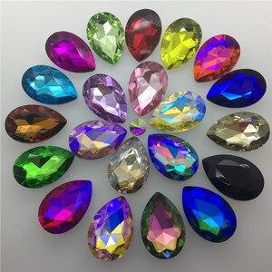 Image 1 - TopStone 30pcs Biggest Size 30x40mm Teardrop Crystal Fancy Stone Pear Drop Bling Crystal Rhinestone For Jewelry Making