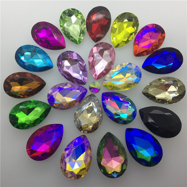TopStone 30pcs Biggest Size 30x40mm Teardrop Crystal Fancy Stone Pear Drop Bling Crystal Rhinestone For Jewelry Making