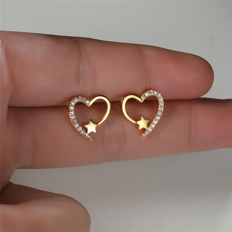 White Zircon Cute Heart Stud Earrings For Women Wedding Jewelry Vintage Gold/Silver Color Multicolor Stone Small Star Earrings