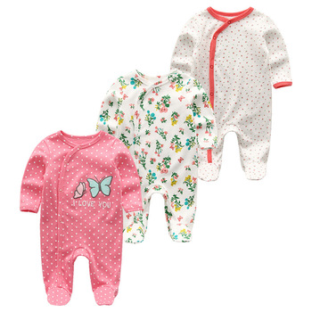0-12Months Baby Rompers Newborn Girls&Boys 100%Cotton Clothes of Long Sheeve 1/2/3Piece Infant Clothing Pajamas Overalls Cheap - Baby Rompers RFL3204, 6M