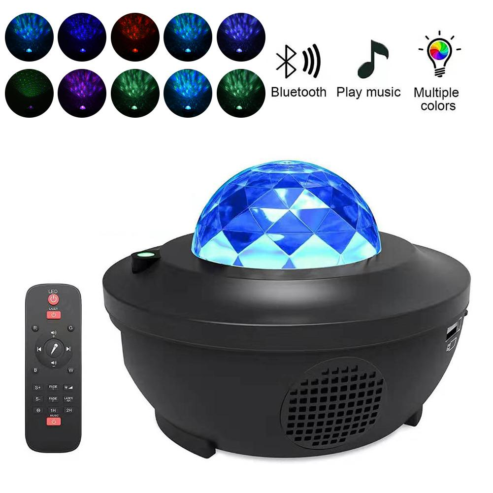 LED Star Projector Night Light Galaxy Starry Night Lamp Ocean Wave With Music Bluetooth Player Speaker Remote Control For Kids