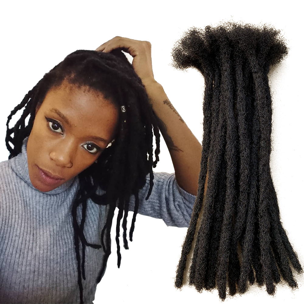 YONNA 100% Human Hair Small Size (0.4cm Width) Dreadlocks Extensions Full Handmade SOLD 60locs IN A BUNDLE