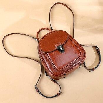 Genuine Leather Women's Backpack Vintage Oil Wax Cowhide Ladie Backpacks Real leather Female Bag Teenager Girls Bag Travel Large