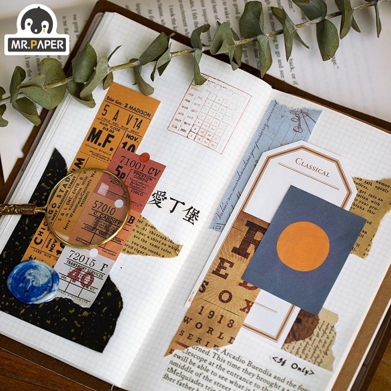 Mr.paper 100pcs Time Travel Writing Paper Kraft Card Background Journaling Bullet Scrapbooking Material Paper LOMO Card Escol 4