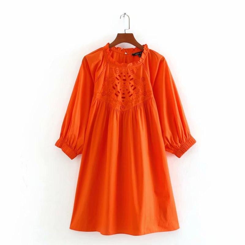 2020 Spring Summer New Hollow Embroided Orange Cotton Zaraing Women Dress Sheining Vadiming Female Vintage Plus Size Cdc9659