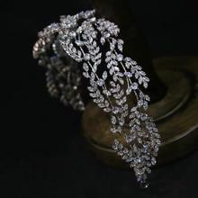 Irregular Cubic Zircon Wedding Crowns Headbands Crystal Evening Hairbands Brides Hair Accessories Prom Jewelry