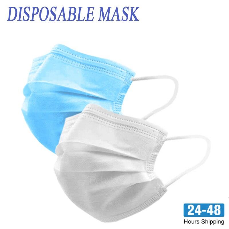 10/20/50/100/200 шт белая маска 3-слойная Нетканая Пылезащитная одноразовая маска с активированным углем защита от гриппа маска для лица
