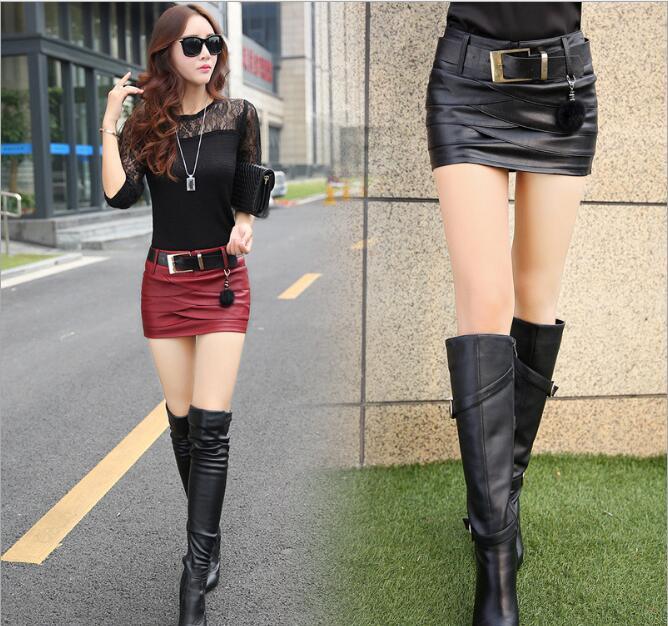 2020 Plain Faux Leather Skirt Black Mid Waist With Belt Sexy PU Skirts Women Elegant Sheath Above Knee Mini Bottom Red Black