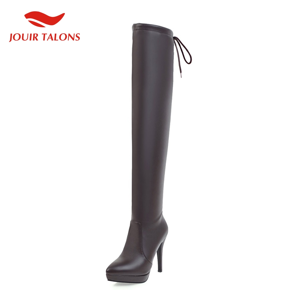 On sale 2020 big size 43 sexy thin high heels over the knee boots women shoes winter shoes woman thigh high boots female