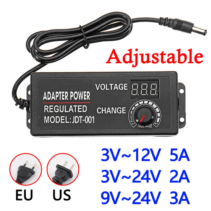 AC to DC 3V-<font><b>12V</b></font> 3V-24V 9V-24V Adjustable Power Adapter Universal Power Supply <font><b>Adaptors</b></font> With Display Screen of Voltage Regulated image