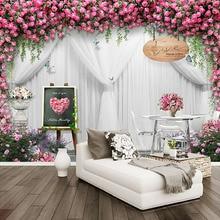 Dropship Custom Any Size Mural Wallpaper 3D Romantic Rose Curtain Photo