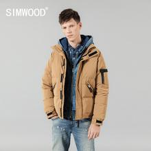 SIMWOOD 2019 Winter Warm Down Jacket  Men 90% Grey Coats Man Fashion Casual Stand collar Outwear Plus Size 180292