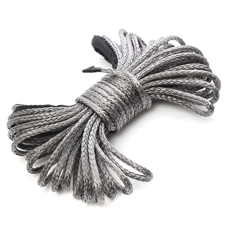 Winch Rope String Line Cable with Sheath Gray Synthetic Towing Rope 15M 7700Lbs Car Wash Maintenance String for Atv Utv Off Ro