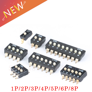 10pcs/lot Slide Type SMT SMD Dip Switch, 2.54mm Pitch 2 Row 4 Pin 2 Position / 8 pin 4 Position / 16 pin 8 Position(China)