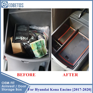 Image 3 - EDBETOS Kona schowek w podłokietniku dla Hyundai Kona Encino 2017 2018 2019 2020 Kona konsola środkowa pojemnik taca akcesoria