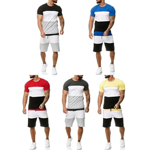 2019t Men Sets Summer cotton Stitching color short sleeve Sporting Suit T-shirt +shorts Mens 2 Pieces casual clothing D30