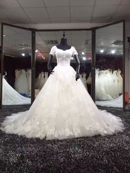 Elegant A-Line Short Sleeve Lace Wedding Dresses Tulle Up Back Sweep Train Bridal Gowns for Women Real Pictures