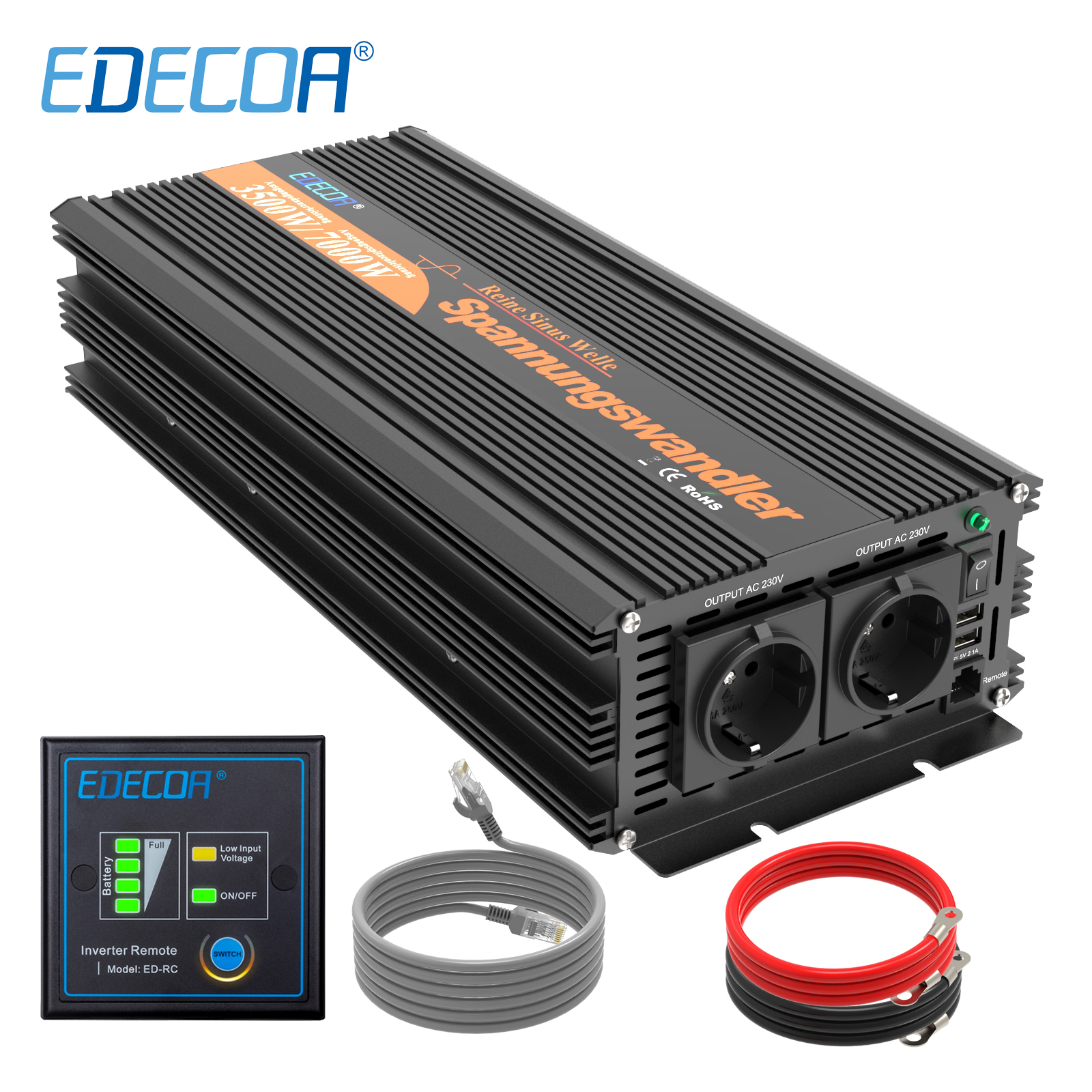 EDECOA 3500W <font><b>7000W</b></font> <font><b>power</b></font> <font><b>inverter</b></font> DC <font><b>12V</b></font> AC 220V 230V 240V <font><b>pure</b></font> <font><b>sine</b></font> <font><b>wave</b></font> with 5V 2.1A USB and remote controller image