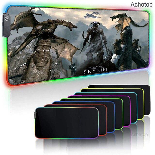 Светящийся RGB светодиодный настольный игровой коврик для мыши -